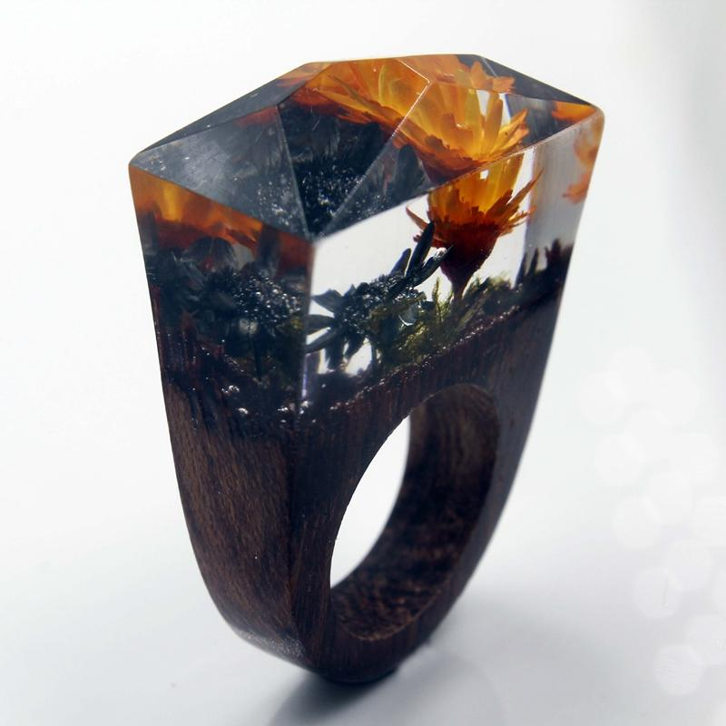 Orange Blossoms Secret Forest Resin Ring
