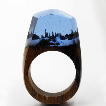 Midnight Snow Secret Forest Resin Ring