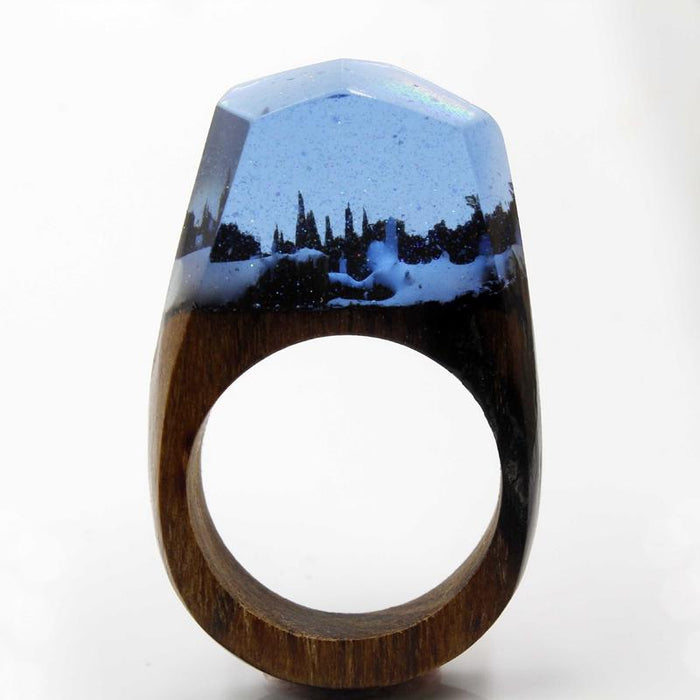 Midnight Snow Secret Forest Wood Ring