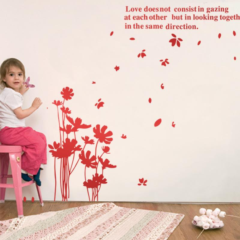 Love Flowers Quotes Wall Stickers