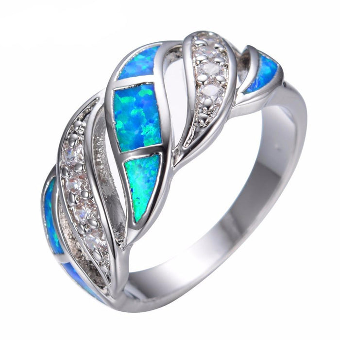 Twisted Blue Opal Ring