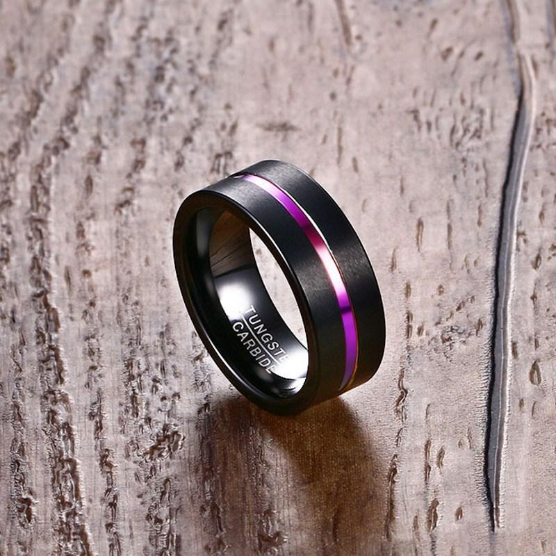Thin Rainbow Line Tungsten Carbide Ring