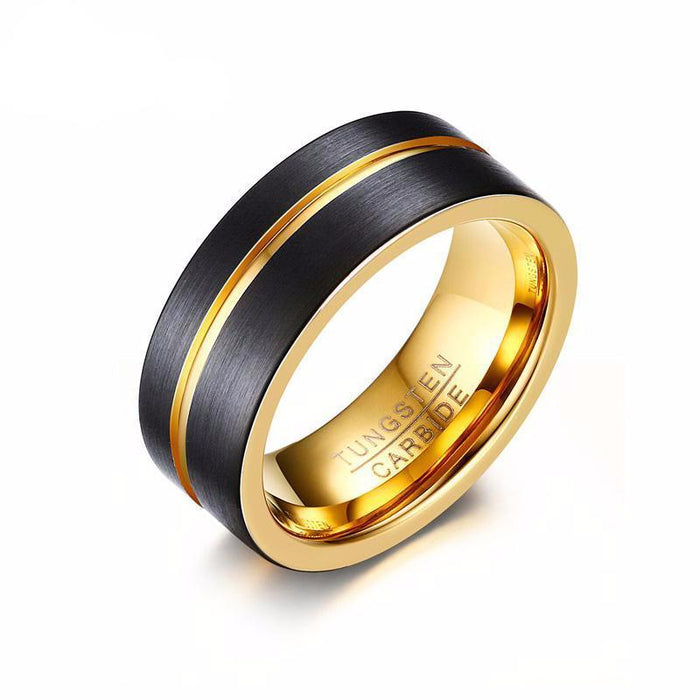 Thin Gold-color Line Tungsten Carbide Ring