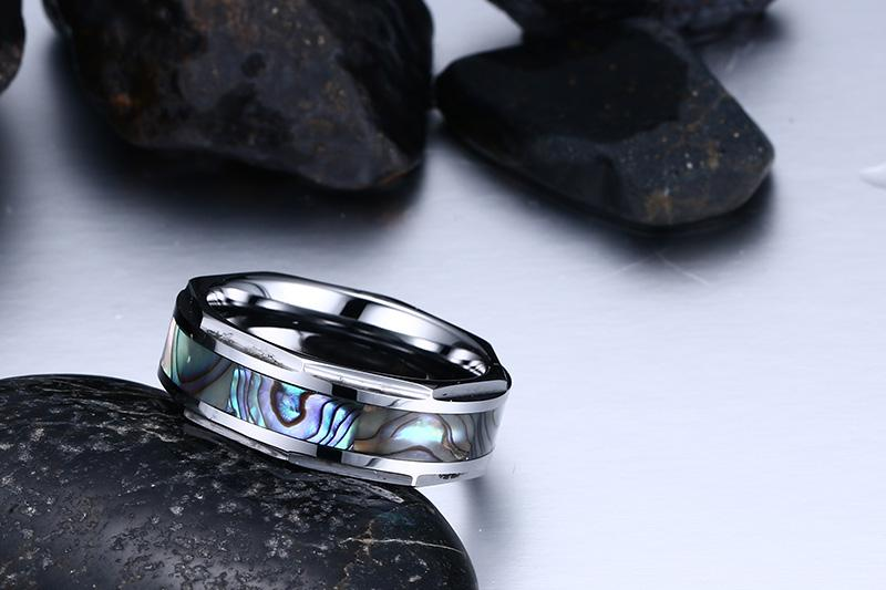 Cool Shell Textured Tungsten Carbide Ring
