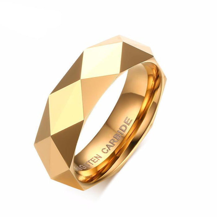 Rhombic Cut Gold Tungsten Carbide Ring