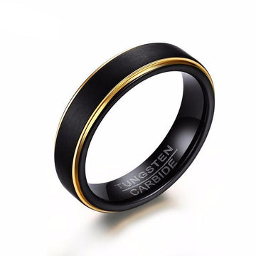 Black Thin Gold-Color Tungsten Ring