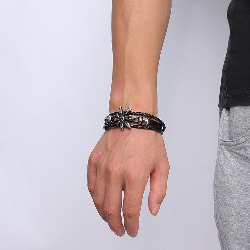 Leaf Black Leather Bracelet