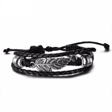 Feather Braided Leather Bracelet