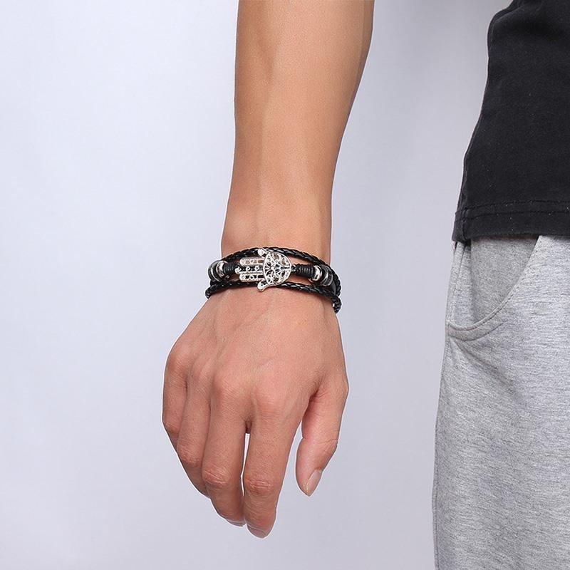 Hamsa Black Leather Bracelet