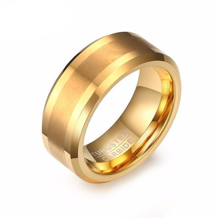 Trendy Gold-color Wedding Tungsten Ring