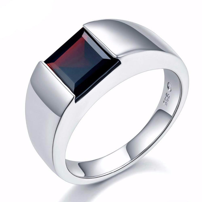 Svetlana Square Black Garnet Ring