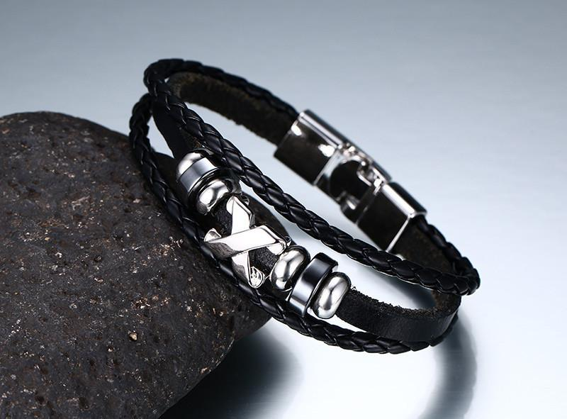 Steel Cross Leather Bracelet