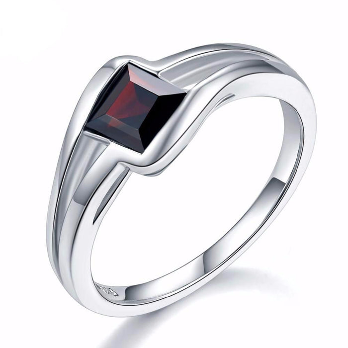 Faina Square Red Garnet Ring