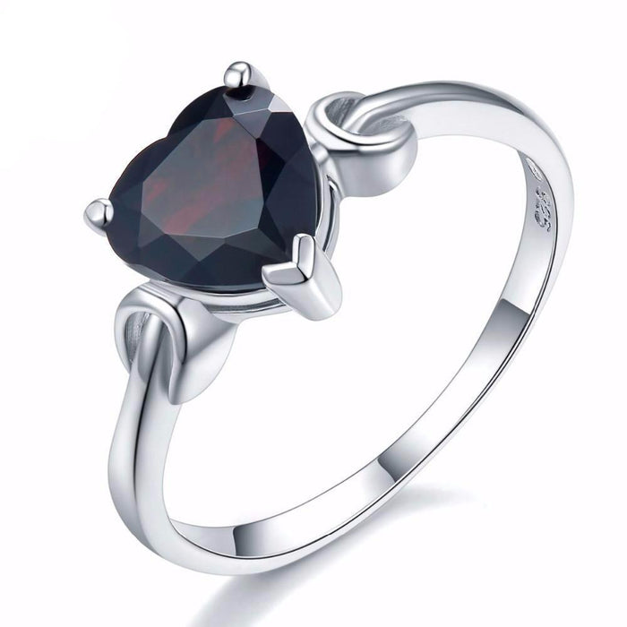 Galina Heart Black Garnet Ring