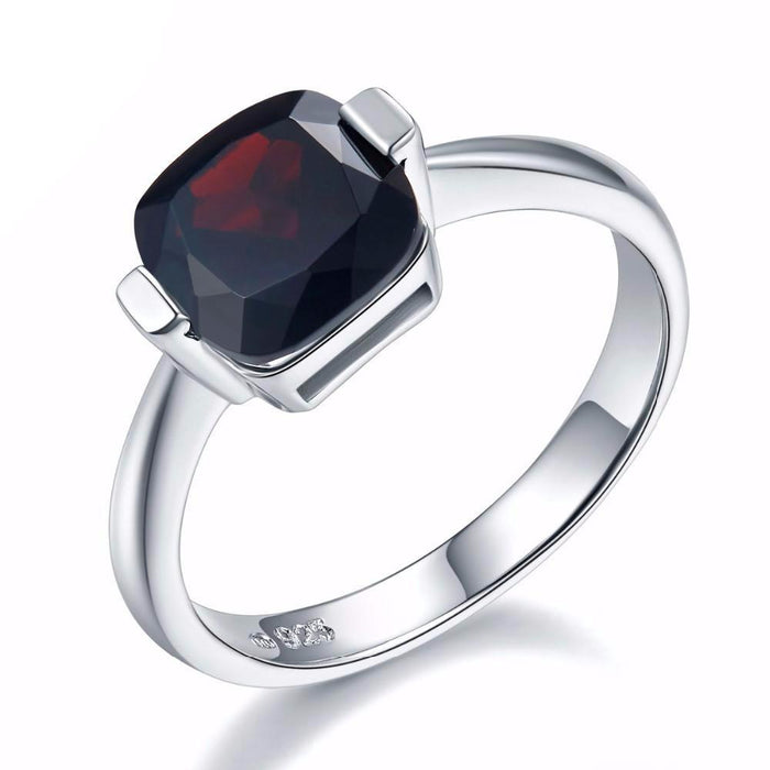 Ekaterina Cushion Cut Black Garnet Ring