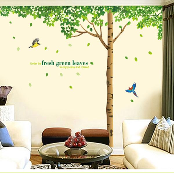 Green Leaves Tree & Birds Wall Stickers