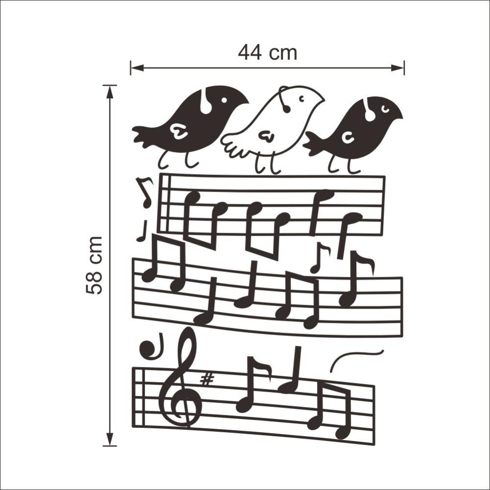 Music Note Bird Wall Stickers