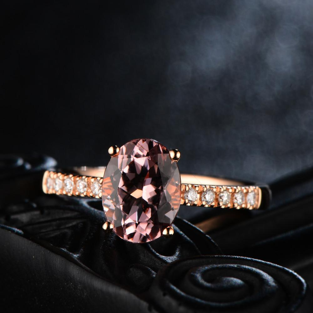 Veronika Rose Gold Oval Morganite Ring