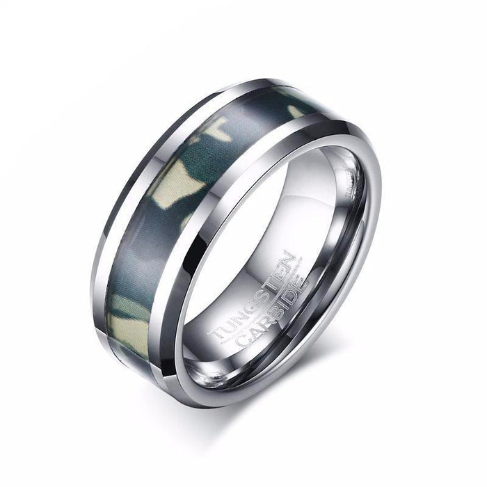Punk Camo Tungsten Carbide Ring