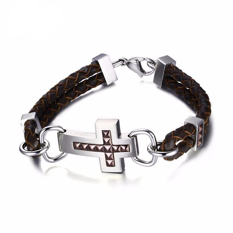 Cross Double Braided Genuine Leather Bracelet
