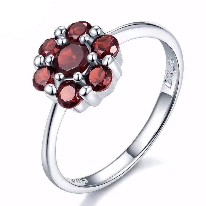 Fedosia Round Red Garnet Ring