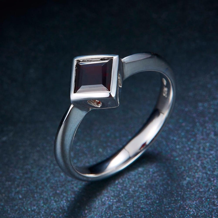Liliya Square Black Garnet Ring