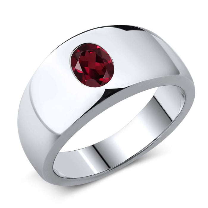 Alexej Red Oval Garnet Ring