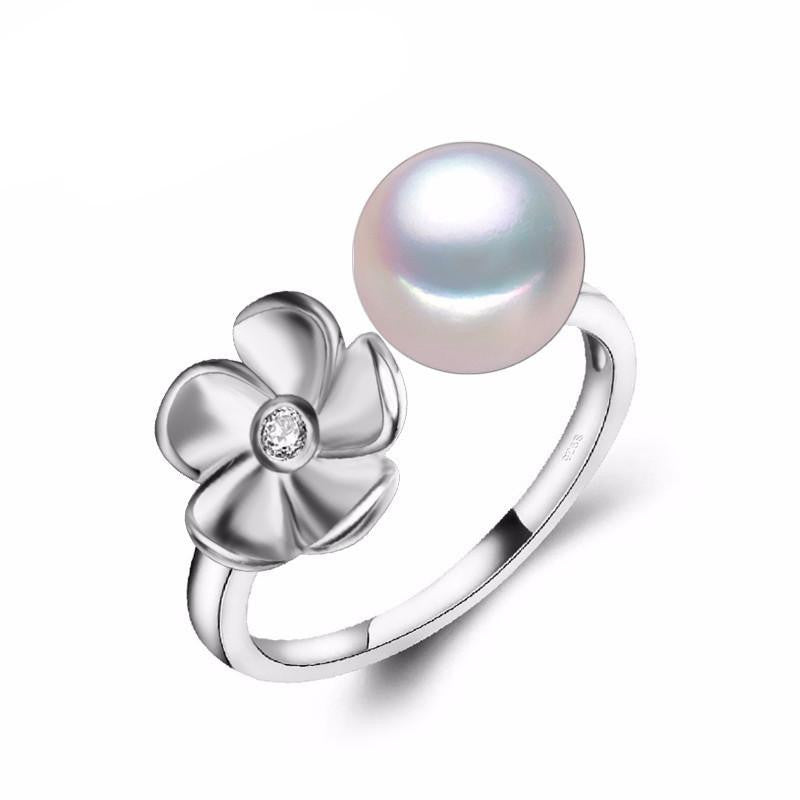 Ayame Round Flower Pearl Ring