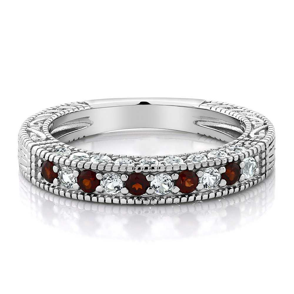 Adéle Red Garnet & Saphire Ring