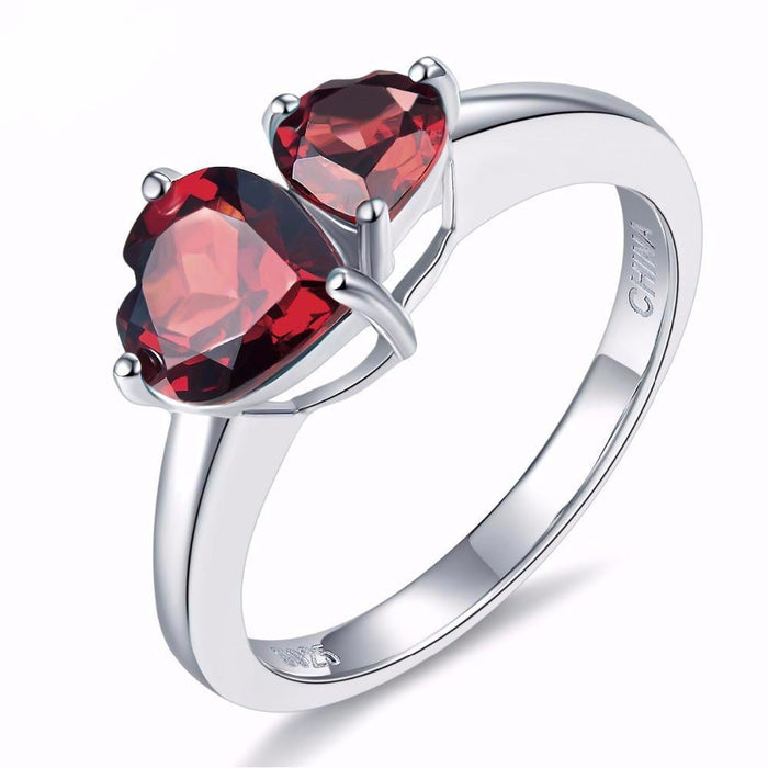 Rada Heart Red Garnet Ring