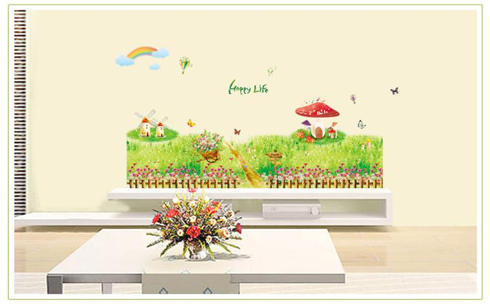 Grass Mushrooms Tree Wall Stickers