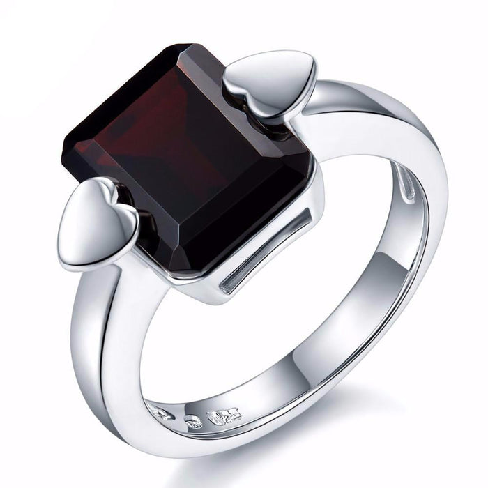 Dina Emerald Cut Black Garnet Ring