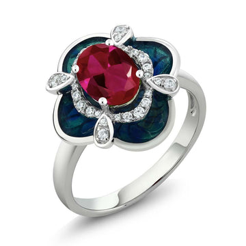 Adalicia Oval Ruby & White Zirconia Ring