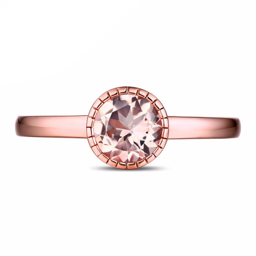 Viktoriya Rose Gold Round Morganite Ring