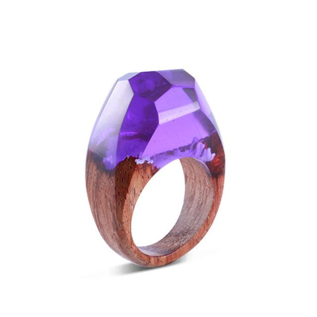 Purple Sunset Secret Forest Wood Ring