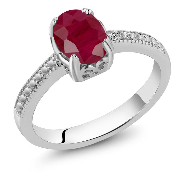 Adelisa Oval Ruby & White Diamond Ring