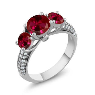 Aida Round Ruby & White Zirconia Ring