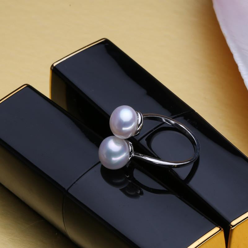 Aiya Double Round Pearl Ring