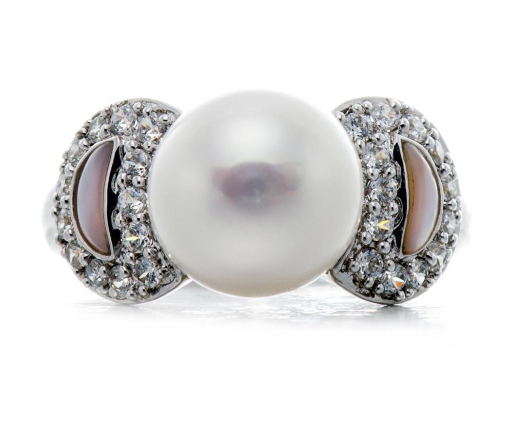 Ima White Pearl, CZ & Mother of Pearl Ring
