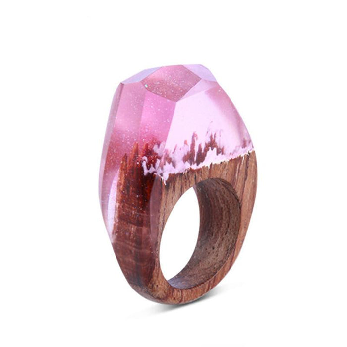 Morning Pink Sky Secret Forest Resin Ring