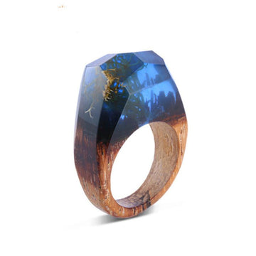 Winter Blue Secret Forest Resin Ring