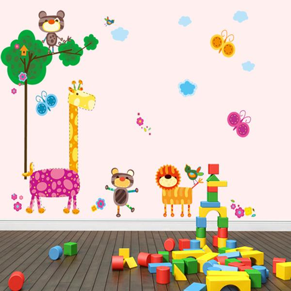 Giraffe Background Kindergarten Wall Stickers
