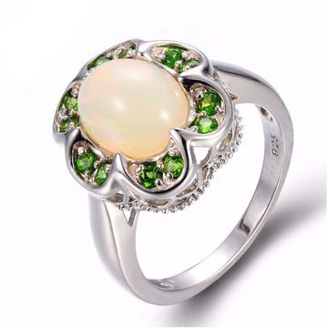 Diopside & Peach Opal Ring