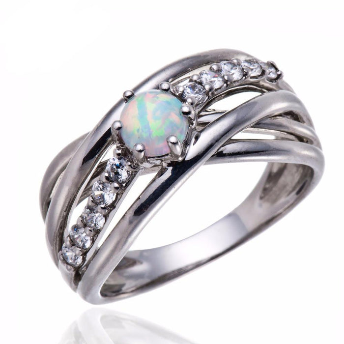 Pure White Opal Ring