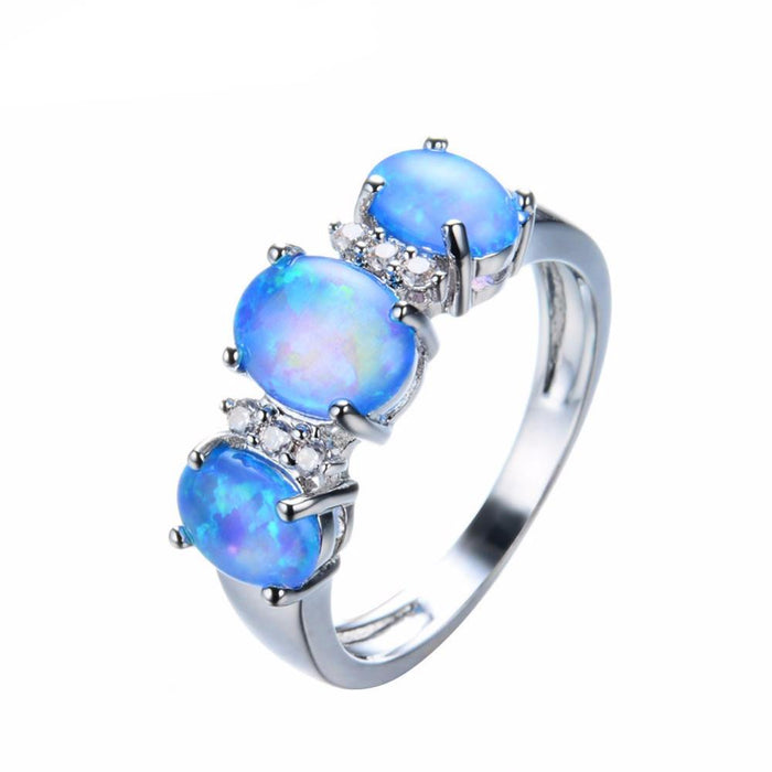 Trio of Blue Opal Ring