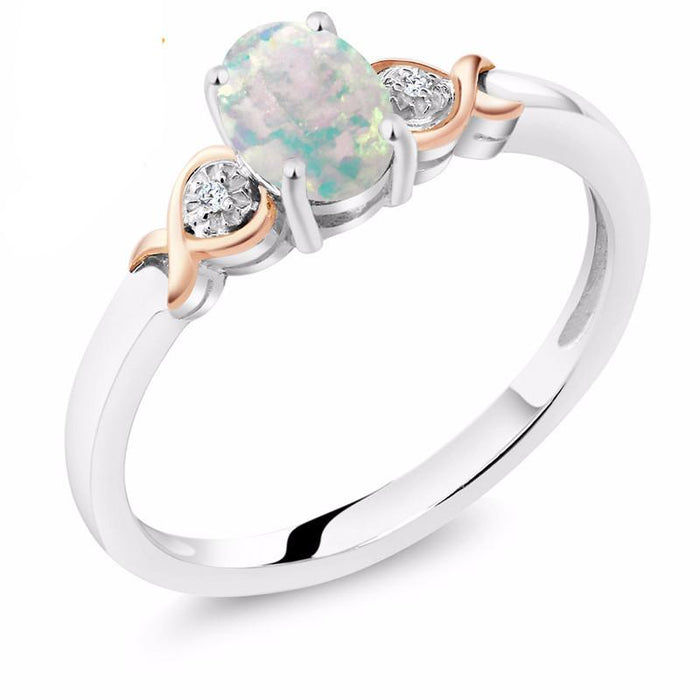 Diamond, Rose Gold & Opal Ring