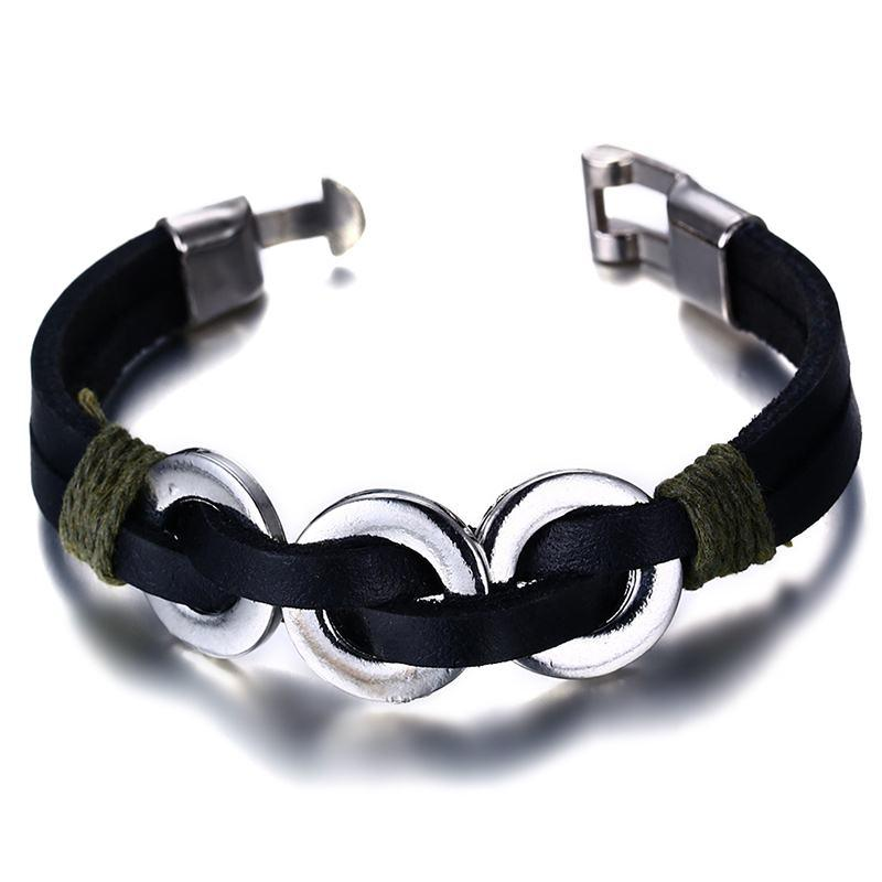 Interlocked Circles Leather Bracelet