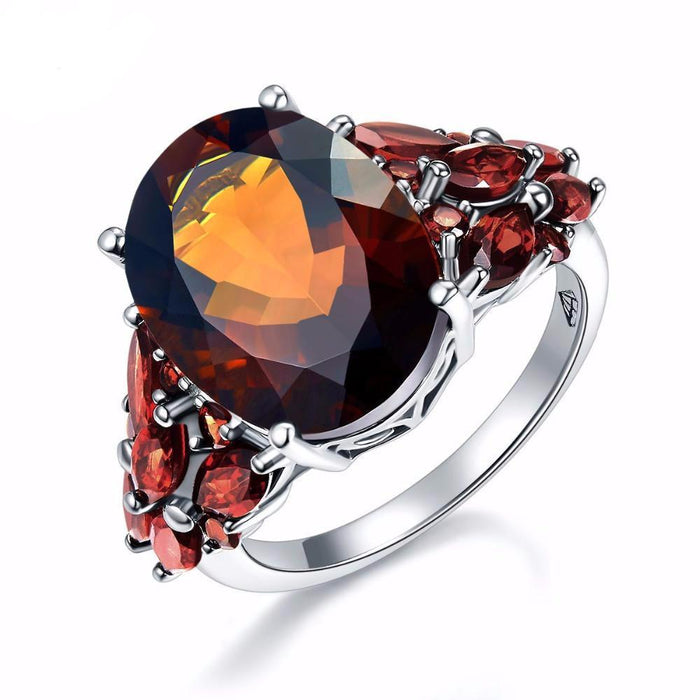 Olga Oval Smoky Quartz & Garnet Ring