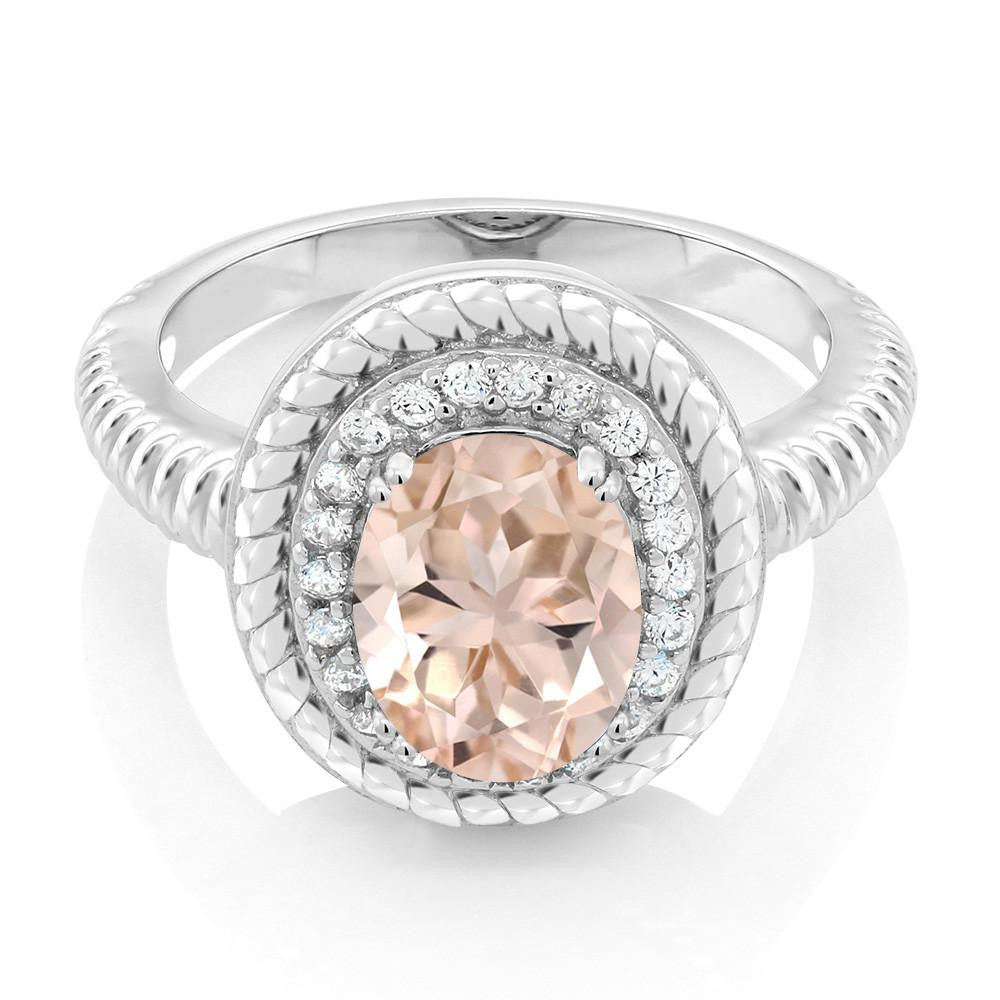 Anzhelika Oval Morganite Ring
