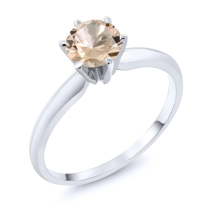 Anastasiya Gold Solitaire Morganite Ring